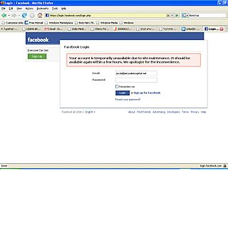 Facebook error screen